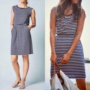 Boden Stripe Cap Sleeve Jersey Dress Navy & White